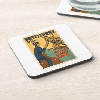 Britishers Come Across Now WWI British Propaganda Drink Coaster