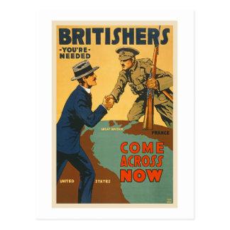 Britishers Come Across Now WWI British Propaganda Postcard