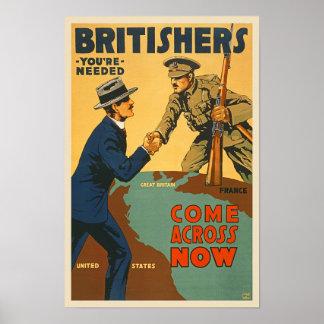 Britishers Come Across Now WWI British Propaganda Poster
