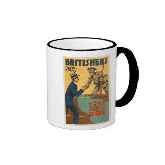 Britishers Come Across Now WWI British Propaganda Ringer Coffee Mug