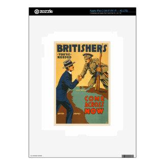 Britishers Come Across Now WWI British Propaganda Skin For iPad 3