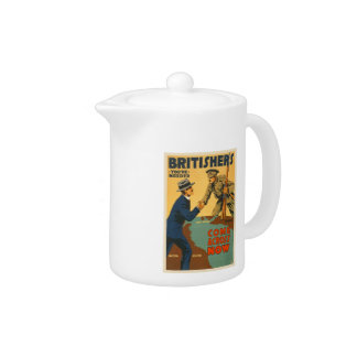Britishers Come Across Now WWI British Propaganda Teapot