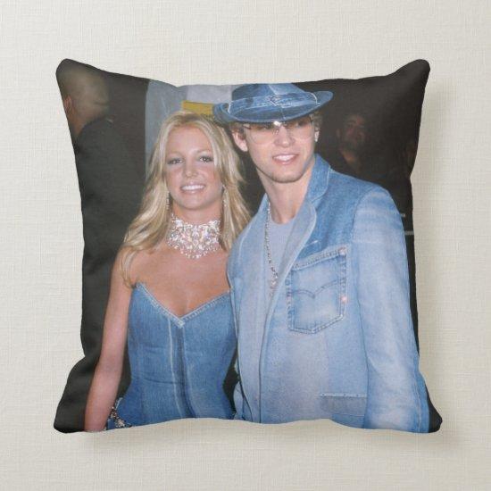 Britney Spears & Justin Timberlake in Denim Throw Pillow