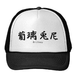Britney tradujo a símbolos japoneses del kanji gorra