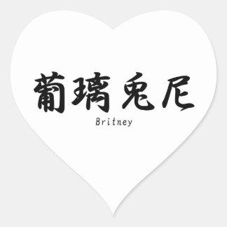 Britney translated into Japanese kanji symbols. Heart Sticker