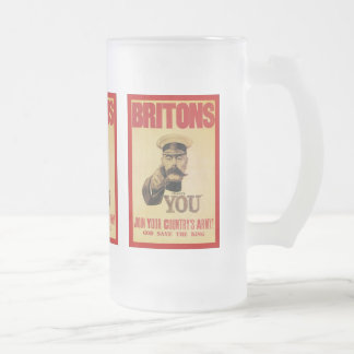 Britons: Join Your Country's Army! Frosted Glass Beer Mug