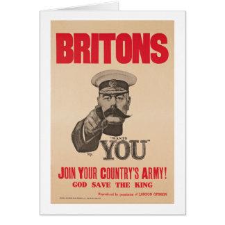 Britons Lord Kitchener Wants You WWI Propaganda Card