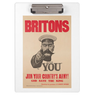 Britons Lord Kitchener Wants You WWI Propaganda Clipboard