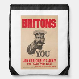 Britons Lord Kitchener Wants You WWI Propaganda Drawstring Backpack