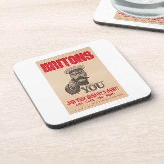 Britons Lord Kitchener Wants You WWI Propaganda Drink Coaster