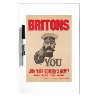 Britons Lord Kitchener Wants You WWI Propaganda Dry Erase Board