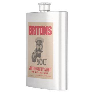 Britons Lord Kitchener Wants You WWI Propaganda Hip Flask