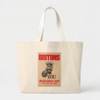 Britons Lord Kitchener Wants You WWI Propaganda Large Tote Bag