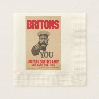 Britons Lord Kitchener Wants You WWI Propaganda Napkin