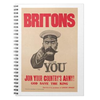 Britons Lord Kitchener Wants You WWI Propaganda Notebook