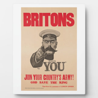 Britons Lord Kitchener Wants You WWI Propaganda Plaque