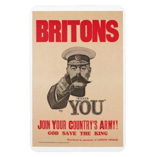 Britons Lord Kitchener Wants You WWI Propaganda Rectangular Photo Magnet