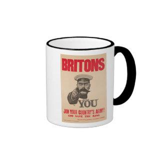 Britons Lord Kitchener Wants You WWI Propaganda Ringer Mug