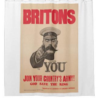 Britons Lord Kitchener Wants You WWI Propaganda Shower Curtain