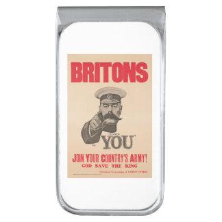 Britons Lord Kitchener Wants You WWI Propaganda Silver Finish Money Clip