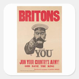 Britons Lord Kitchener Wants You WWI Propaganda Square Sticker