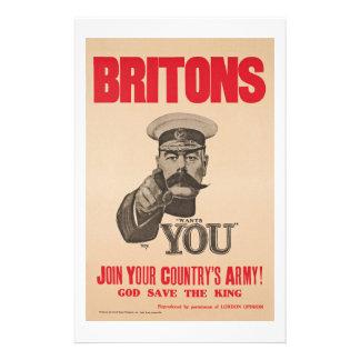 Britons Lord Kitchener Wants You WWI Propaganda Stationery