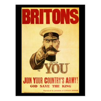 Britons Wants You, Lord kitchener Postcard