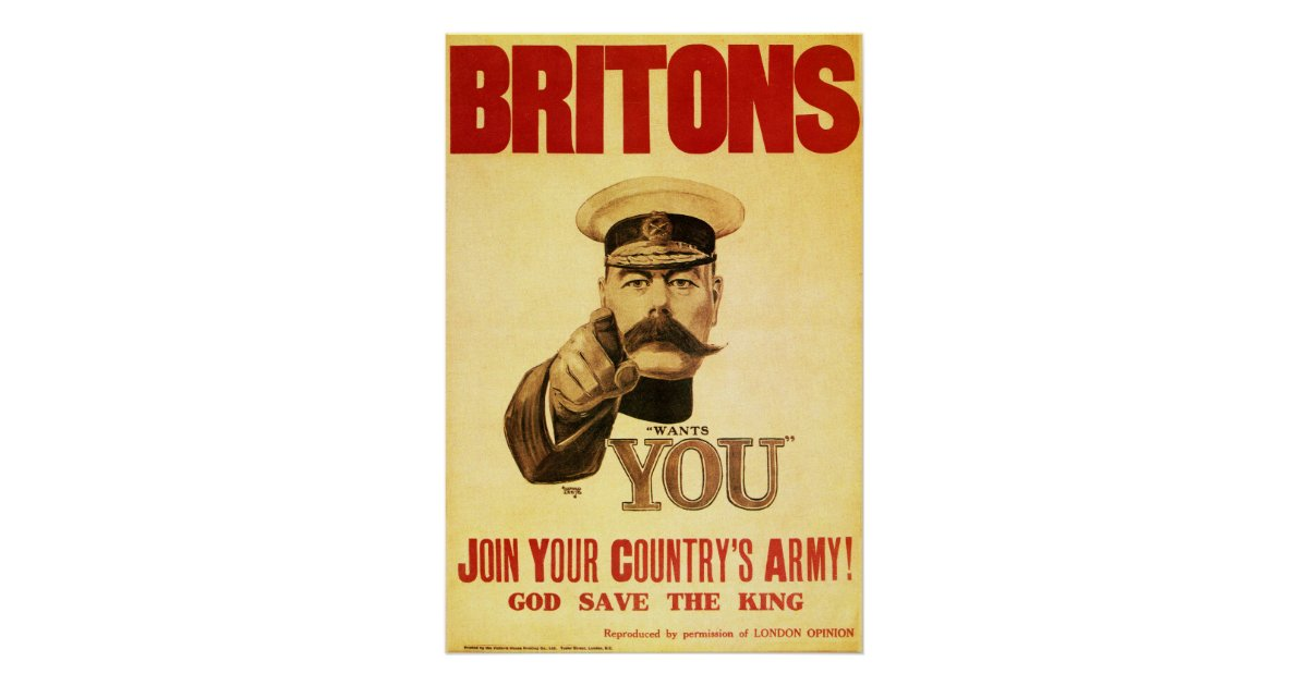 Britons Wants You Lord Kitchener Poster Zazzle