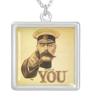 Britons Wants You, Lord kitchener Square Pendant Necklace