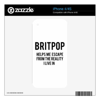 Britpop helps me escape from the reality i live in iPhone 4 decal
