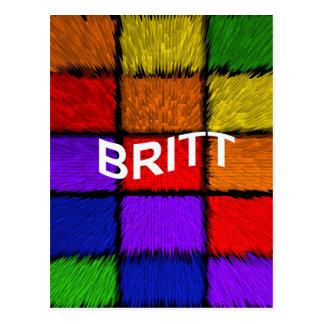 BRITT ( female names ) Postcard