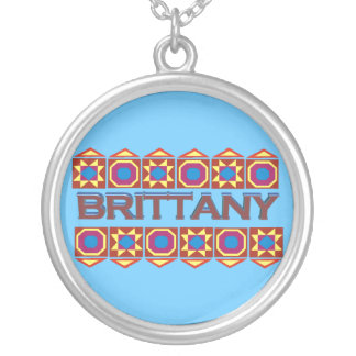 Brittany Abstract art southwestern over light blue Round Pendant Necklace