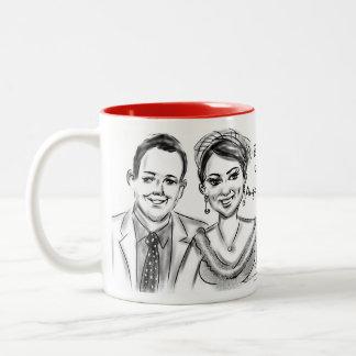 Brittany & Adam's Wedding Caricature Mug 2014b