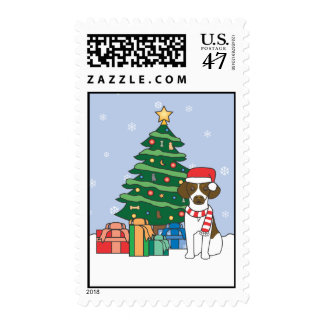 Brittany and Christmas Tree Postage