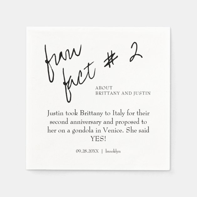 Brittany Black White Fun Fact 2 Cocktail Wedding Napkins Zazzle Com