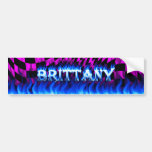 Brittany blue fire and flames bumper sticker desig