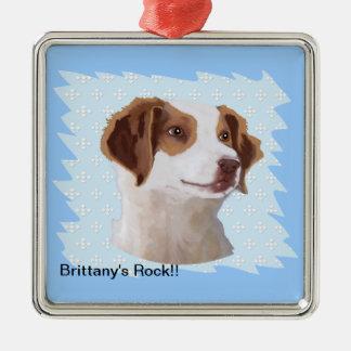 Brittany ~ Blue w/ White Diamonds Design Christmas Ornament