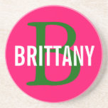 Brittany Breed Monogram Design Sandstone Coaster
