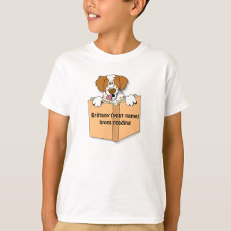 Brittany Cartoon Dog and Book Reading Custom Kids T-Shirt