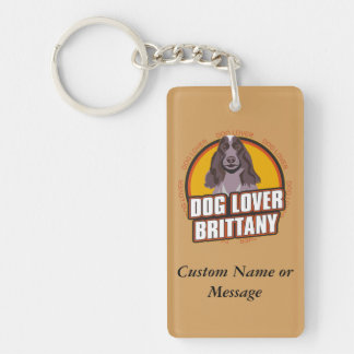 Brittany Dog Breed Lover Custom Name Double-Sided Rectangular Acrylic Keychain