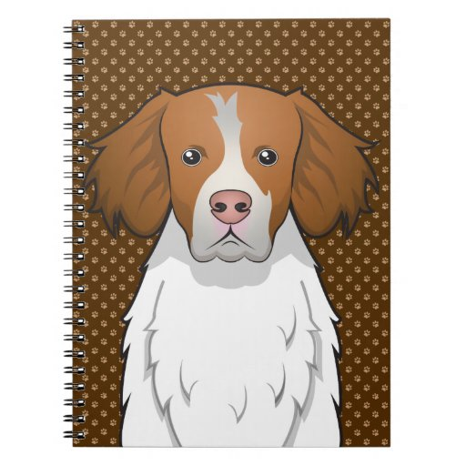 Brittany Dog Cartoon Paws Spiral Note Book