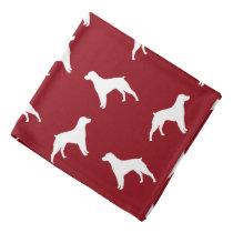 Brittany Dog Silhouettes Pattern Red Bandana