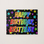 "[ Thumbnail: ""Brittany"" First Name, Fun ""Happy Birthday"" Jigsaw Puzzle ]"
