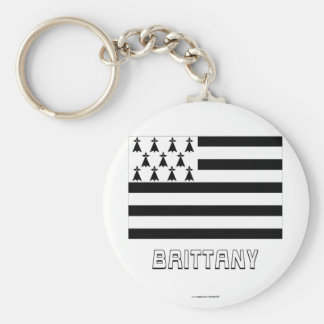 Brittany Flag with Name Basic Round Button Keychain