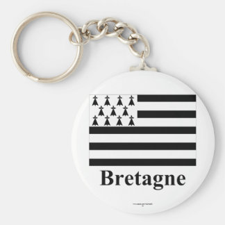 Brittany Flag with Name in French Basic Round Button Keychain