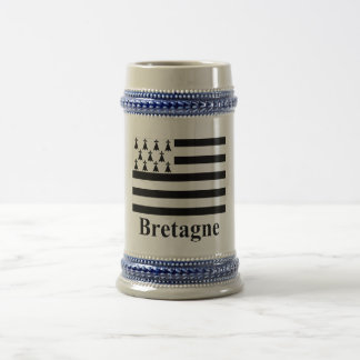 Brittany Flag with Name in French Beer Stein