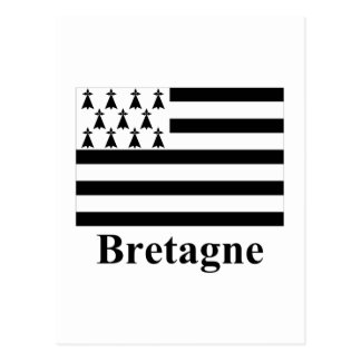 Brittany Flag with Name in French Postcard