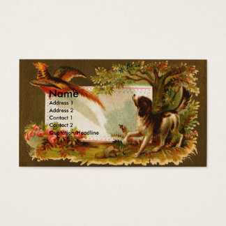 Brittany Flushes Pheasant Victorian Business Card