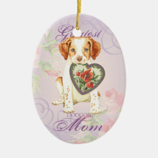 Brittany Heart Mom Ceramic Ornament