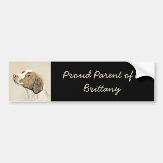 Brittany Painting - Cute Original Dog Art Bumper Sticker